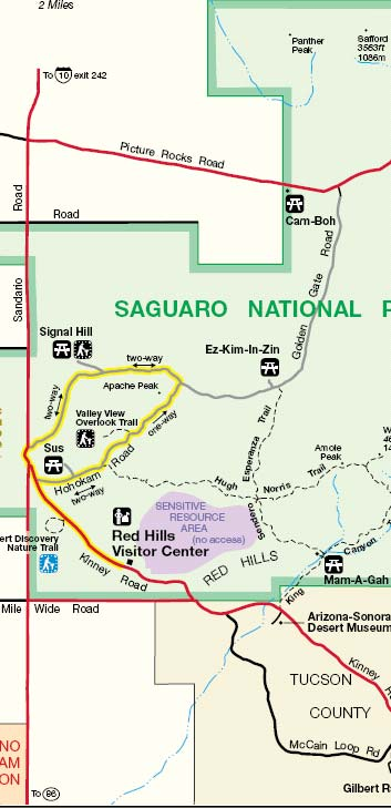 Saguaro West Picnic Areas Map
