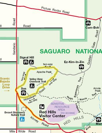 Saguaro West Bajada Loop Drive Map